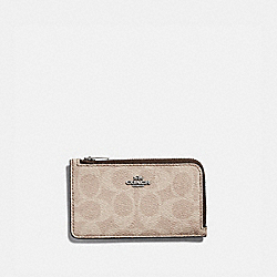 SMALL L-ZIP CARD CASE IN BLOCKED SIGNATURE CANVAS - LH/TAN SAND ORCHID - COACH 89579