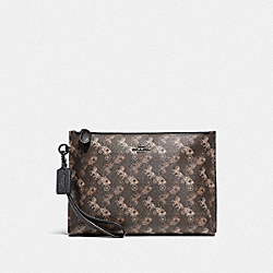 COACH 89585 - CHARLIE POUCH WITH HORSE AND CARRIAGE PRINT PEWTER/BROWN BLACK