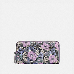 COACH 89613 Accordion Zip Wallet With Heritage Floral Print V5/SOFT LILAC MULTI