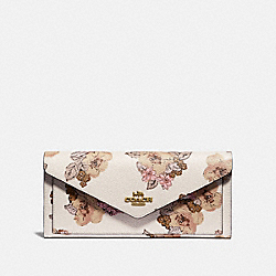SOFT WALLET WITH FLORAL BOUQUET PRINT - 89618 - BRASS/CHALK