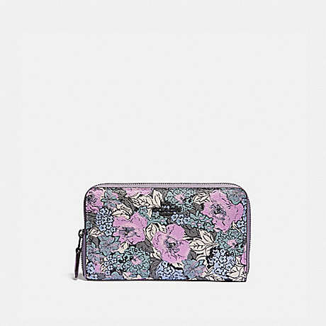 COACH 89685 MEDIUM ZIP AROUND WALLET WITH HERITAGE FLORAL PRINT PEWTER/SOFT-LILAC-MULTI