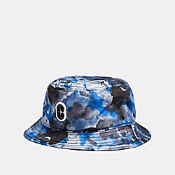BUCKET HAT WITH WATERCOLOR SCRIPT PRINT - 89721 - BLUE WATERCOLOR CAMO