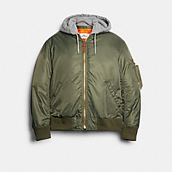 COACH 89726 Nylon Hooded Ma-1 Jacket FATIGUE