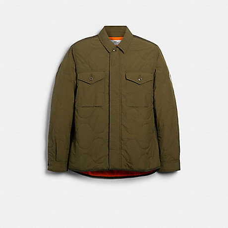 COACH 89727 QUILTED SHIRT JACKET OLIVE