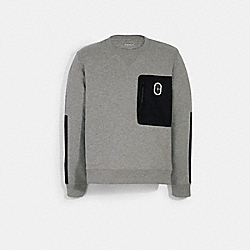 COACH 89748 - MIXED MEDIA SWEATSHIRT LIGHT HEATHER GREY