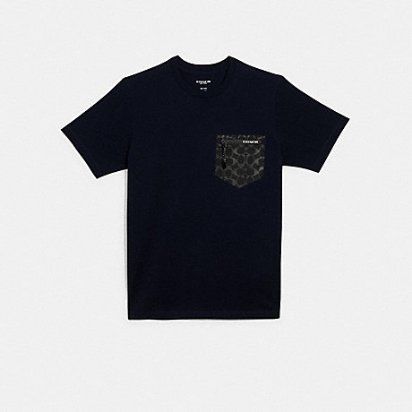 COACH 89749 MIXED MEDIA T-SHIRT NAVY