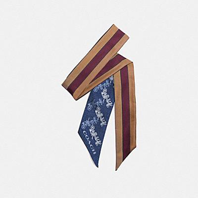 ダイアゴナル ホース キャリッジ ヴァーシティ ストライプ プリント シルク スキニー スカーフ