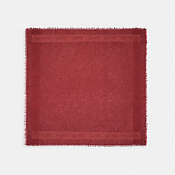 HORSE AND CARRIAGE PRINT BORDER OVERSIZED SQUARE SCARF - 89793 - CHERRY