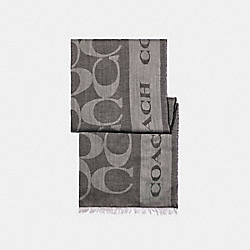 COACH 89794 Signature Coach Border Shawl BLACK