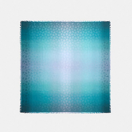 COACH 89795 SIGNATURE OMBRE OVERSIZED SQUARE SCARF TEAL