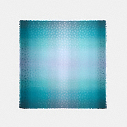 COACH 89795 - SIGNATURE OMBRE OVERSIZED SQUARE SCARF TEAL