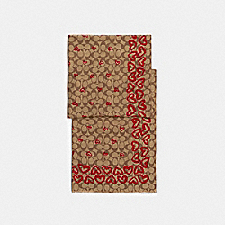 COACH 89834 - SIGNATURE CRAYON HEARTS PRINT OBLONG SCARF KHAKI/RED