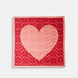 COACH 89837 - JUMBO SIGNATURE HEART PRINT SILK SQUARE SCARF LIGHT BLUSH