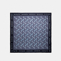 HORSE AND CARRIAGE PRINT SILK SQUARE SCARF - 89843 - INDIGO