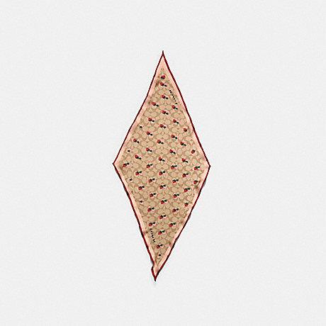 COACH 89845 SIGNATURE STRAWBERRY PRINT SILK DIAMOND SCARF LIGHT KHAKI/CORAL