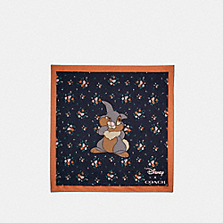 COACH 89846 Disney X Coach Thumper Rose Bouquet Print Silk Bandana MIDNIGHT NAVY