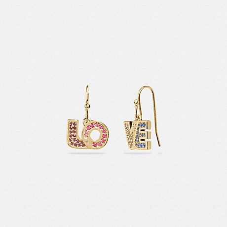 COACH 89875 BOXED LOVE DROP EARRINGS GOLD/MULTI