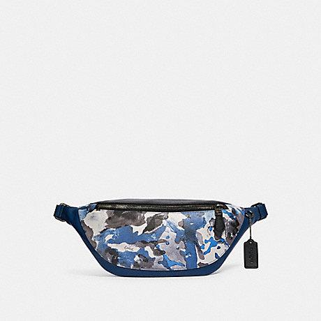 COACH 89889 WARREN BELT BAG WITH WATERCOLOR SCRIPT PRINT QB/BLUE MULTI