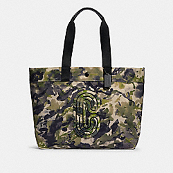 TOTE WITH WATERCOLOR SCRIPT PRINT AND COACH PATCH - 89892 - QB/GREEN MULTI