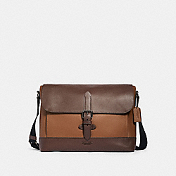 COACH 89894 - HUDSON MESSENGER IN COLORBLOCK QB/TOBACCO MAHAGONY