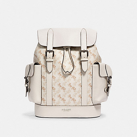 COACH 89897 HUDSON BACKPACK WITH HORSE AND CARRIAGE PRINT QB/BEIGE-TAUPE