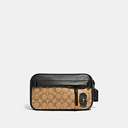 COACH 89918 Edge Belt Bag In Signature Canvas QB/TAN