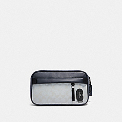 COACH 89919 Edge Belt Bag In Reflective Signature Canvas QB/REFLECTIVE SILVER