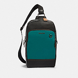 COACH 89936 - GRAHAM PACK IN COLORBLOCK SIGNATURE CANVAS QB/CHARCOAL DARK SEA GREEN