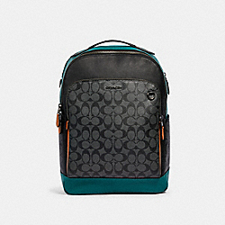 COACH 89941 Graham Backpack In Colorblock Signature Canvas QB/CHARCOAL DARK SEA GREEN