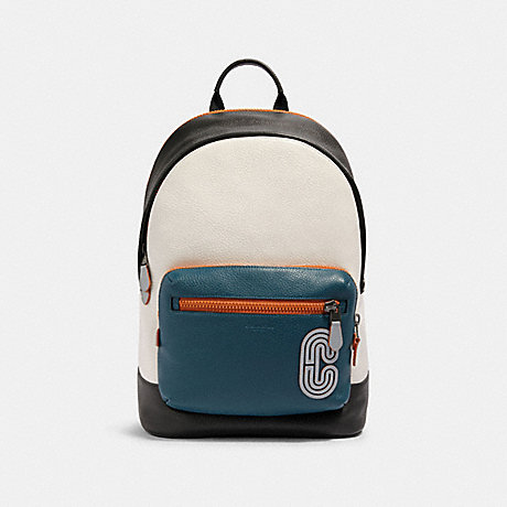 COACH 89947 WEST BACKPACK IN COLORBLOCK WITH REFLECTIVE COACH PATCH QB/CHALK/AEGEAN/ORANGE CLAY