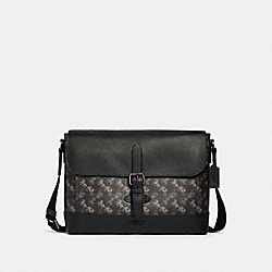 HUDSON MESSENGER WITH HORSE AND CARRIAGE PRINT - 89955 - QB/BLACK MULTI