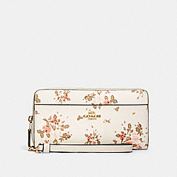 COACH 89966 Accordion Zip Wallet With Rose Bouquet Print IM/CHALK MULTI