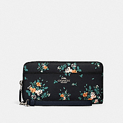COACH 89966 Accordion Zip Wallet With Rose Bouquet Print SV/MIDNIGHT MULTI
