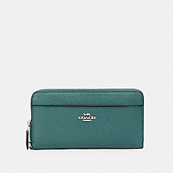 COACH 89968 Accordion Zip Wallet SV/DARK TURQUOISE
