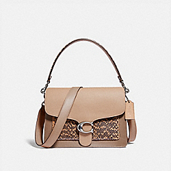 TABBY SHOULDER BAG WITH COLORBLOCK SNAKESKIN DETAIL - 89973 - LH/TAUPE MULTI
