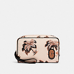 COACH 89980 - BOXY COSMETIC CASE WITH GLOWING PALM PRINT QB/PEACH MULTI