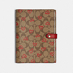 COACH 89982 Notebook In Signature Canvas With Crayon Hearts Print KHAKI/RED