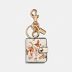 PICTURE FRAME BAG CHARM WITH ROSE BOUQUET PRINT - 89985 - IM/CHALK MULTI