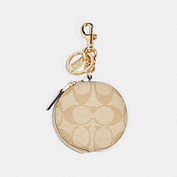 COACH 89987 - CIRCULAR COIN POUCH BAG CHARM IN SIGNATURE CANVAS IM/LIGHT KHAKI