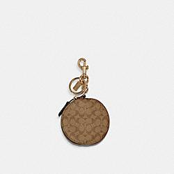 COACH 89987 Circular Coin Pouch Bag Charm In Signature Canvas IM/KHAKI