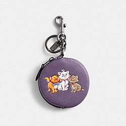 COACH 89988 - DISNEY X COACH CIRCULAR COIN POUCH BAG CHARM WITH DISNEY MOTIF GM/DUSTY LAVENDER MULTI