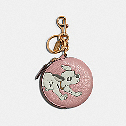 COACH 89988 - DISNEY X COACH CIRCULAR COIN POUCH BAG CHARM WITH DISNEY MOTIF IM/BLOSSOM MULTI