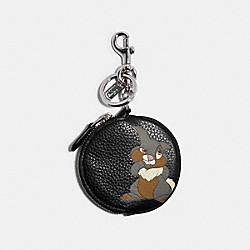 COACH 89988 - DISNEY X COACH CIRCULAR COIN POUCH BAG CHARM WITH DISNEY MOTIF SV/BLACK MULTI