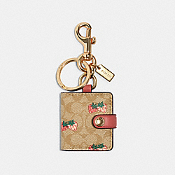 PICTURE FRAME BAG CHARM IN SIGNATURE CANVAS WITH STRAWBERRY PRINT - 89998 - IM/LIGHT KHAKI/CORAL
