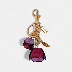COACH 90020 - SIGNATURE TEA ROSES BAG CHARM IM/MAGENTA MULTI