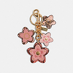 COACH 90033 Floral Cluster Bag Charm IM/LIGHT BLUSH MULTI