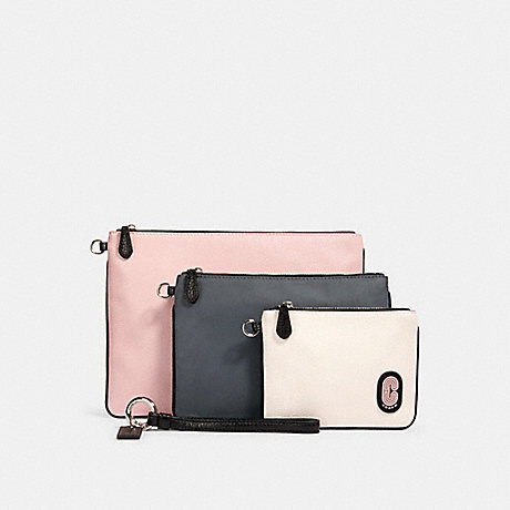 COACH 90049 POUCH TRIO IN COLORBLOCK SV/HEATHER-GREY-MULTI