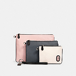 COACH 90049 - POUCH TRIO IN COLORBLOCK SV/HEATHER GREY MULTI