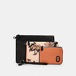 COACH 90055 - POUCH TRIO WITH GLOWING PALM PRINT QB/PEACH MULTI