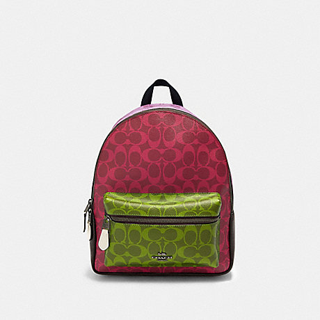 COACH 90397 MEDIUM CHARLIE BACKPACK IN BLOCKED SIGNATURE CANVAS QB/MAGENTA-MULTI